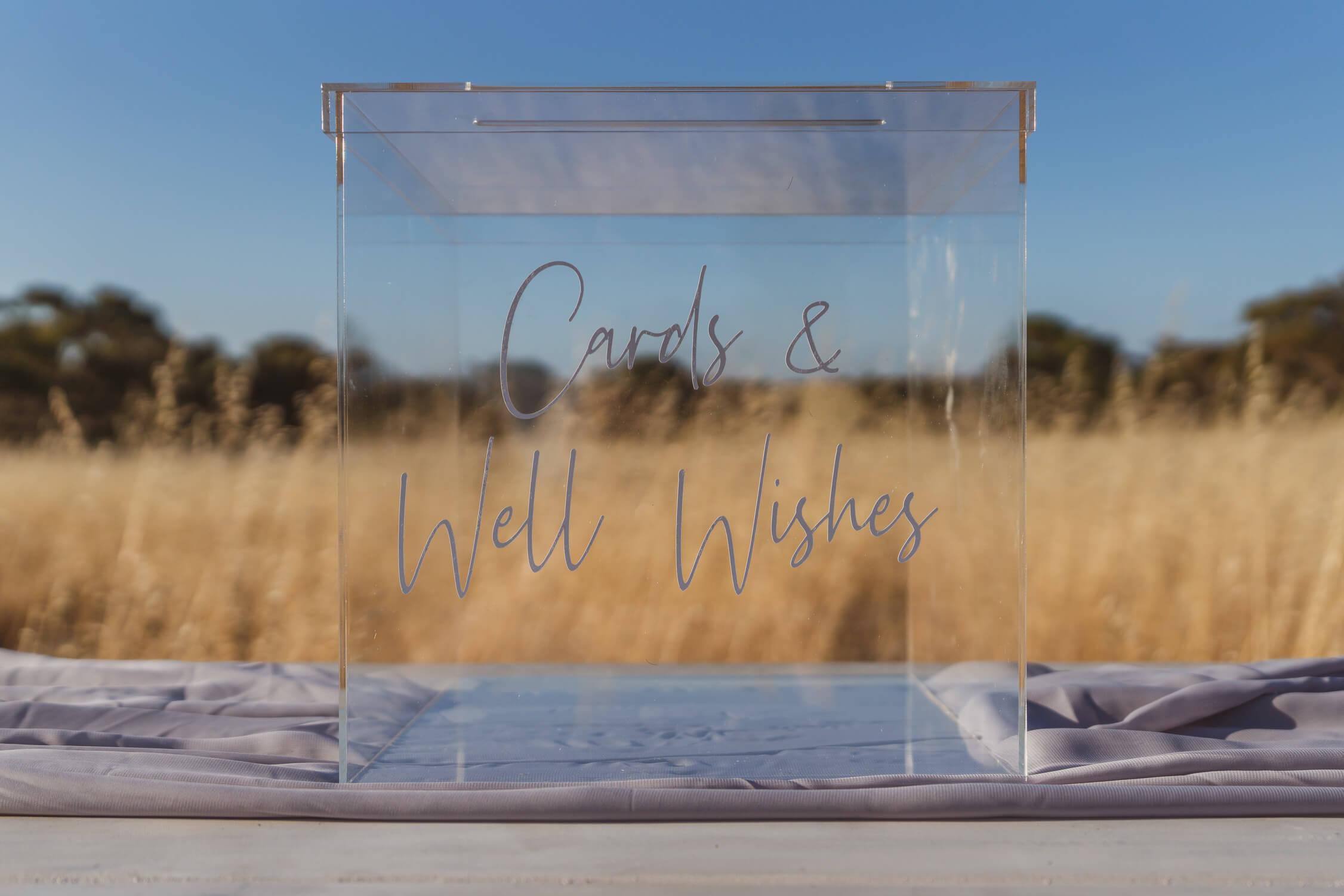 Acrylic cards box (white writing)