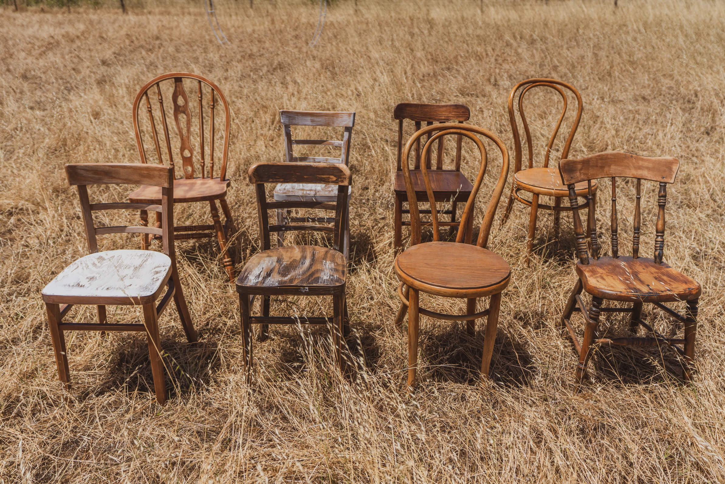 Timber mismatched chairs