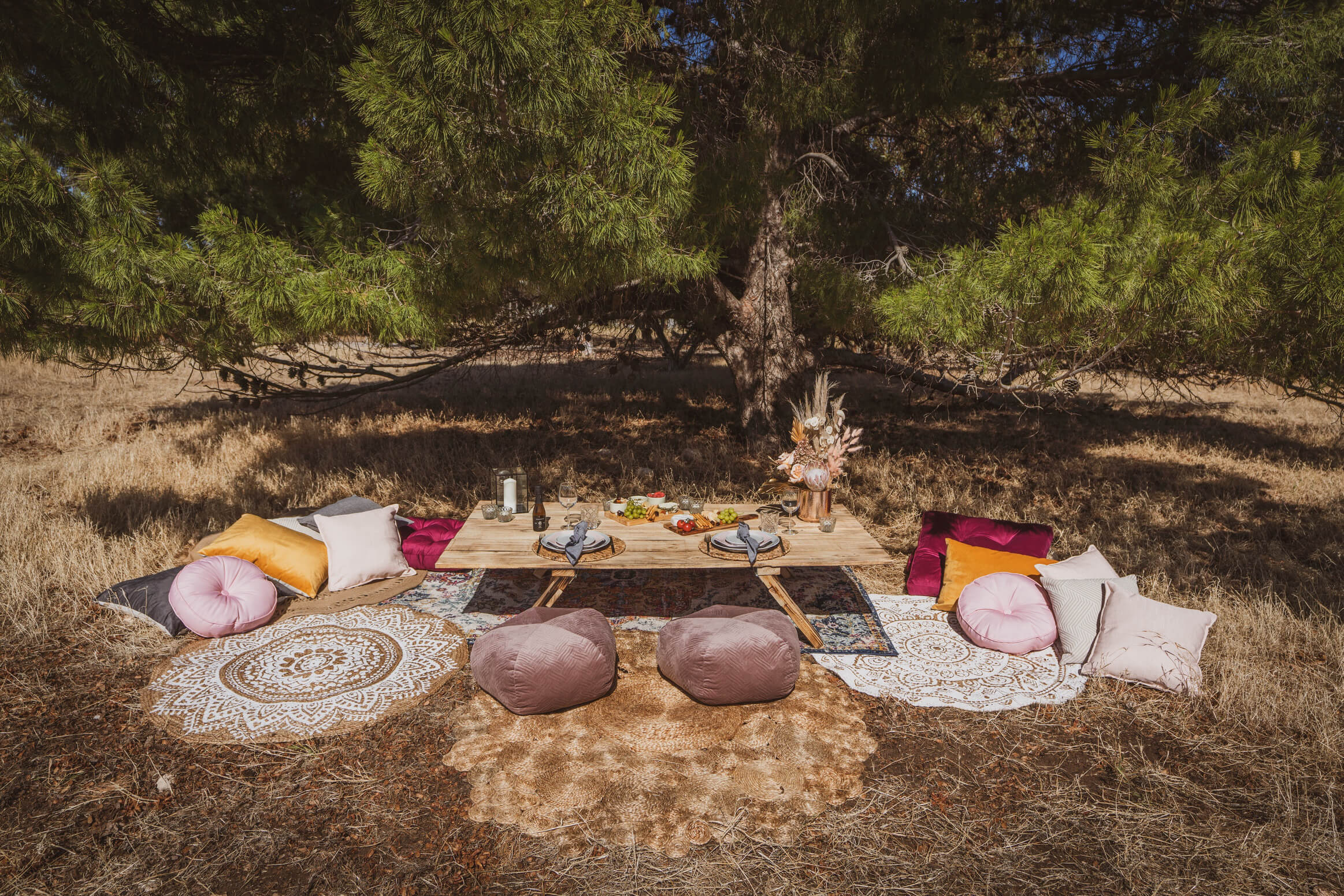Picnic table with rugs and cushions (table styling can be added - please request quote)