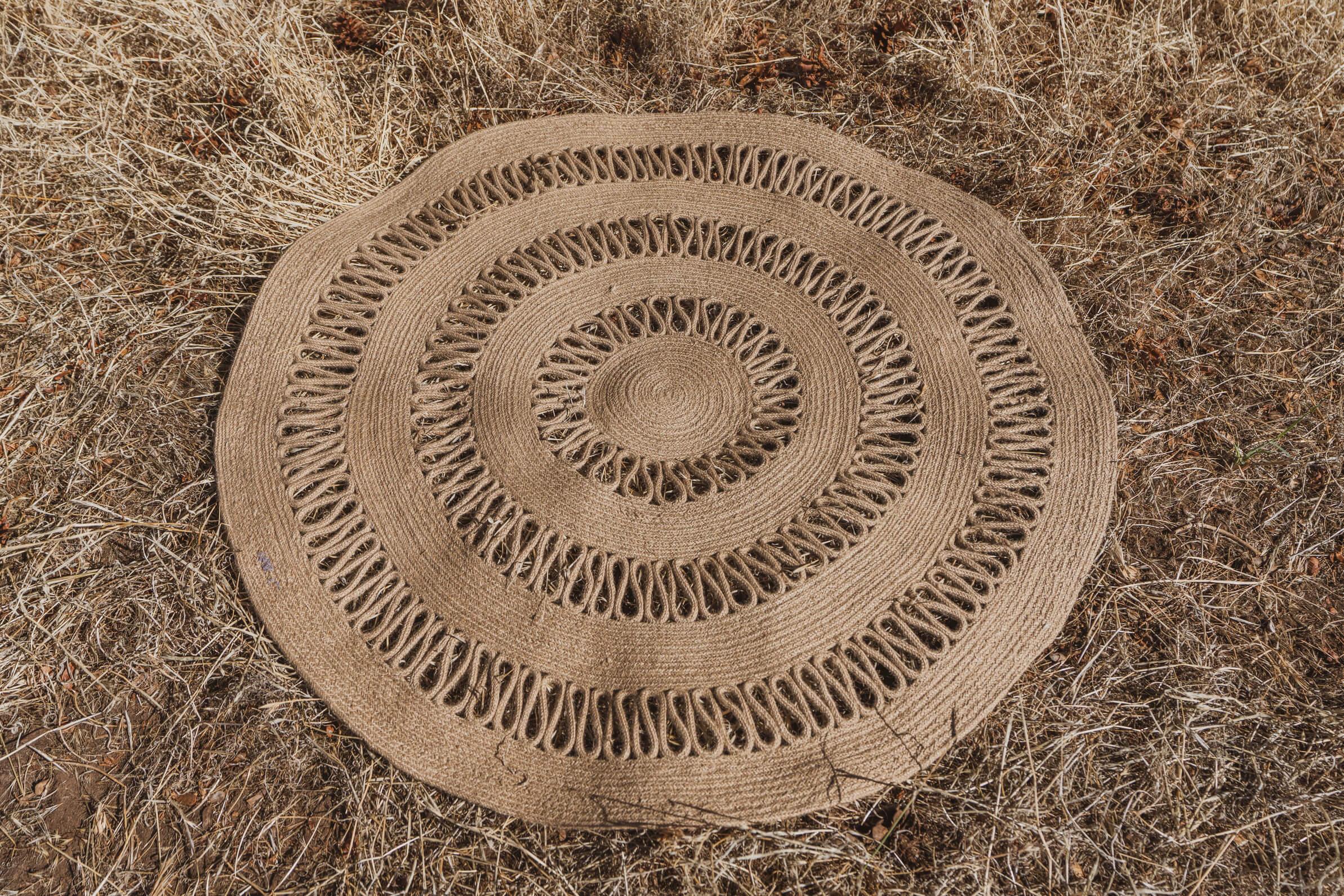 Brown patterned jute rug